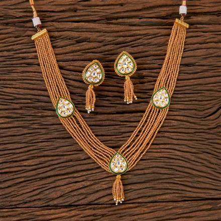 300377 Kundan Choker Necklace with Gold Plating
