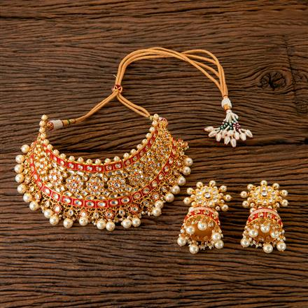 300381 Kundan Mukut Necklace with Gold Plating