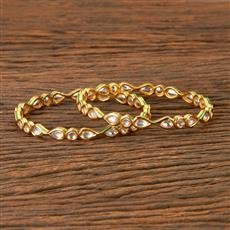 300384 Kundan Delicate Bangles with Gold Plating