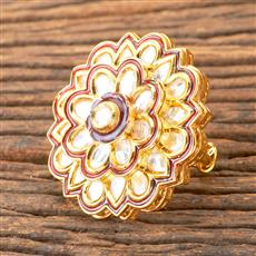 300433 Kundan Classic Ring With Gold Plating