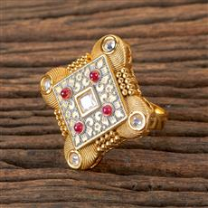 300441 Kundan Classic Ring With Gold Plating