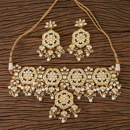 300453 Kundan Choker Necklace With Gold Plating