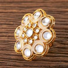 300461 Kundan Classic Ring With Gold Plating