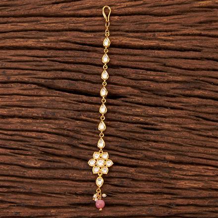 300466 Kundan Delicate Tikka With Gold Plating