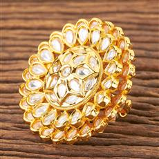 300485 Kundan Classic Ring With Gold Plating