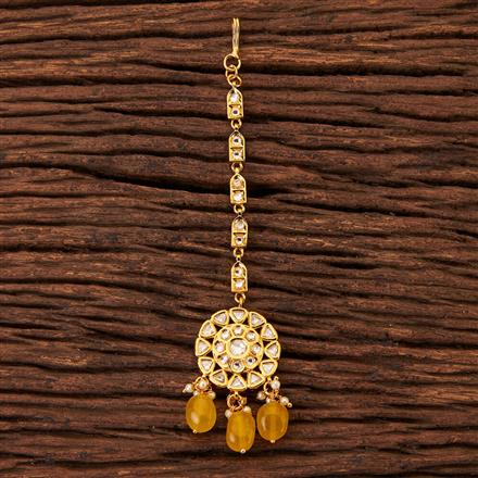 300486 Kundan Delicate Tikka With Gold Plating