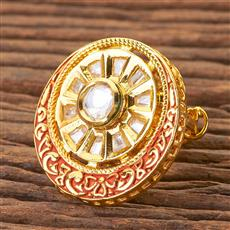 300497 Kundan Classic Ring With Gold Plating