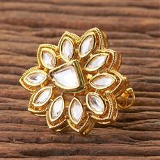 300500 Kundan Classic Ring With Gold Plating