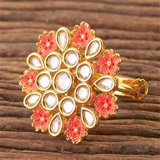 300501 Kundan Classic Ring With Gold Plating