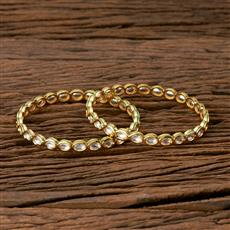 300523 Kundan Delicate Bangles With Gold Plating