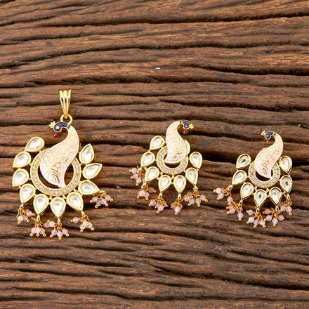 300533 Kundan Peacock Pendant Set With Gold Plating