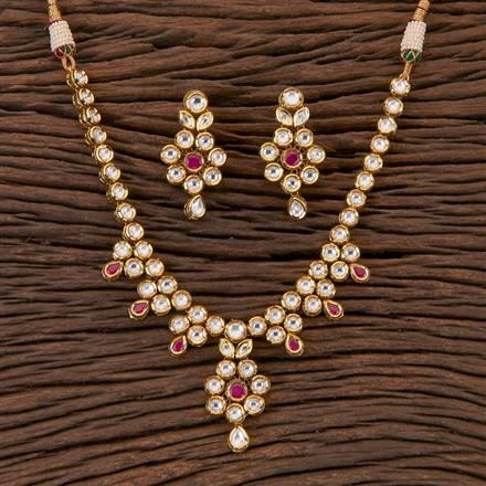 300548 Kundan Classic Necklace With Gold Plating