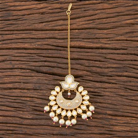 300557 Kundan Chand Tikka With Gold Plating