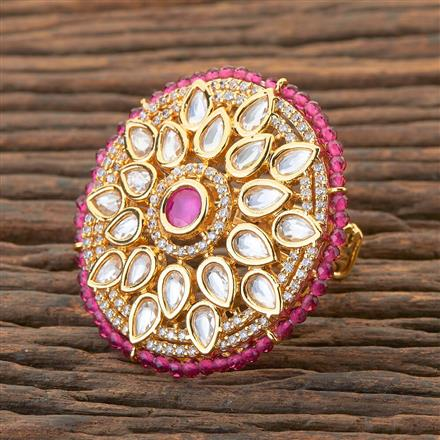 300561 Kundan Classic Ring With Gold Plating