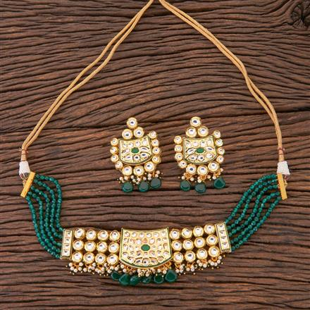 300572 Kundan Choker Necklace With Gold Plating