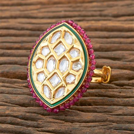 300573 Kundan Classic Ring With Gold Plating