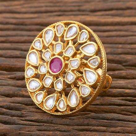 300595 Kundan Classic Ring With Gold Plating