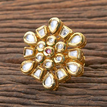 300596 Kundan Classic Ring With Gold Plating