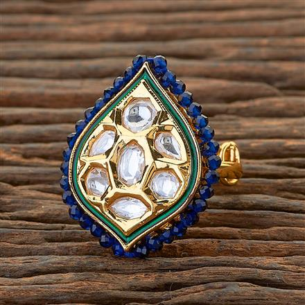 300600 Kundan Classic Ring With Gold Plating