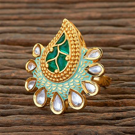 300603 Kundan Classic Ring With Gold Plating
