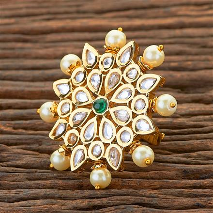 300604 Kundan Classic Ring With Gold Plating
