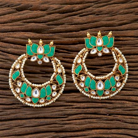 300611 Designer Chand Earring With Matte Gold Plating