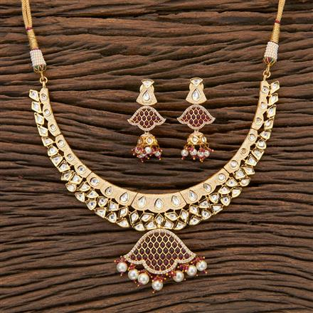 300613 Kundan Classic Necklace With Gold Plating