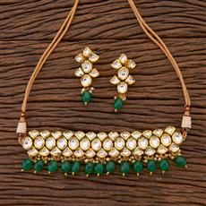 300622 Kundan Choker Necklace With Gold Plating