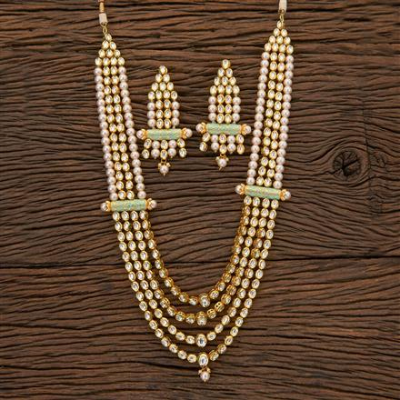 300623 Kundan Pearl Necklace With Gold Plating