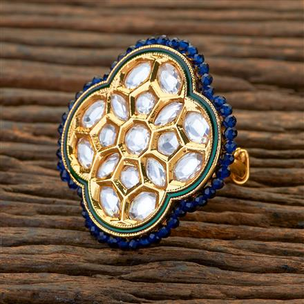 300625 Kundan Classic Ring With Gold Plating