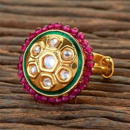 300626 Kundan Classic Ring With Gold Plating