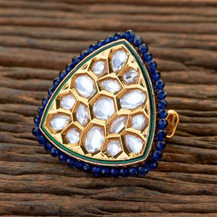 300640 Kundan Classic Ring With Gold Plating