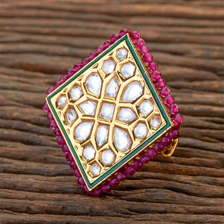 300642 Kundan Classic Ring With Gold Plating