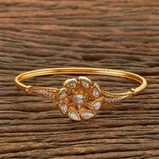 300656 Kundan Delicate Kada with gold plating