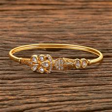 300657 Kundan Delicate Kada with gold plating