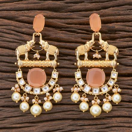300660 Kundan Temple Earring with matte gold plating