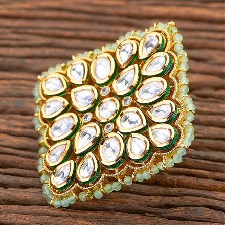 300664 Kundan Classic Ring with gold plating