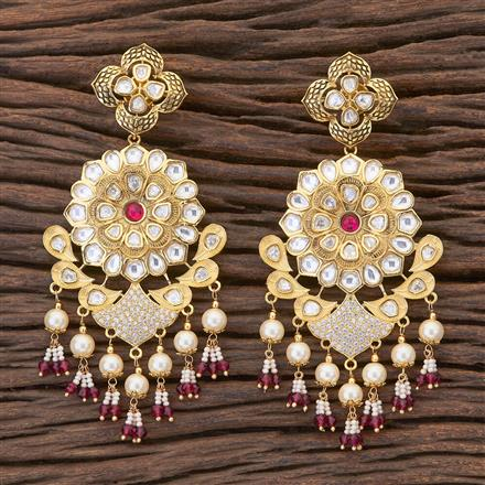 300679 Kundan Classic Earring with gold plating