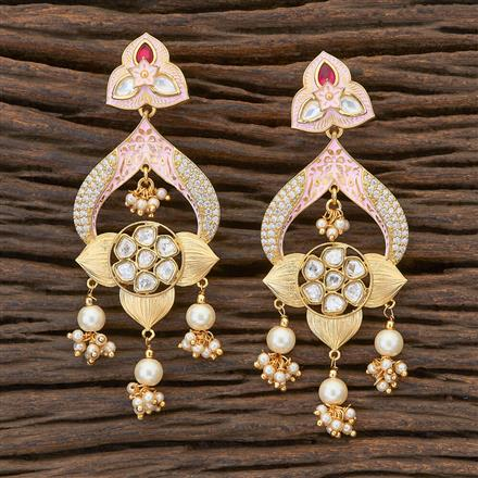 300681 Kundan Classic Earring with gold plating