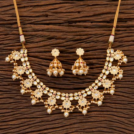 300684 Kundan Classic Necklace with gold plating
