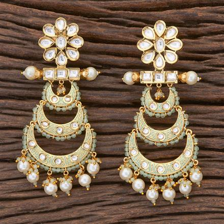 300687 Kundan Chand Earring with gold plating