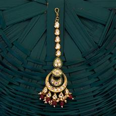 300692 Kundan Chand Tikka with gold plating