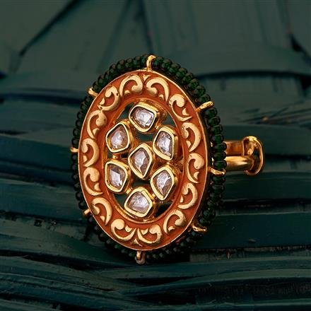 300695 Kundan Classic Ring with gold plating
