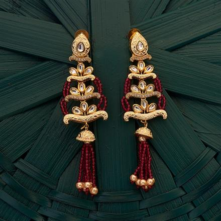 300696 Kundan Long Earring with gold plating