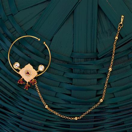 300702 Kundan Pressing Nose ring with gold plating