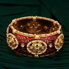 300722 Kundan Openable Bangles With Gold Plating