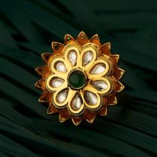 300728 Kundan Classic Ring With Gold Plating