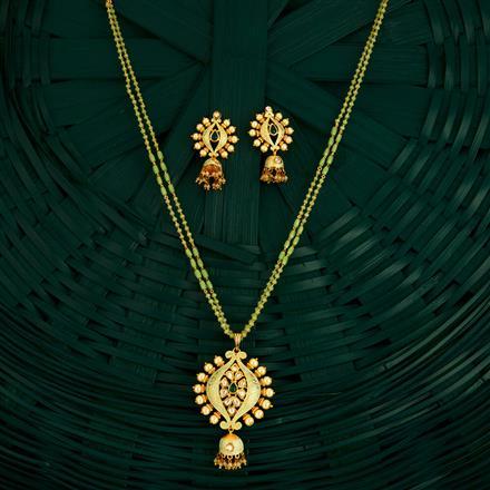 300731 Kundan Mala Pendant Set With Gold Plating