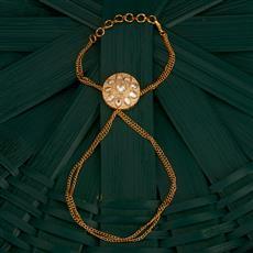 300738 Kundan Classic Hath Pan With Gold Plating