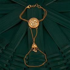 300742 Kundan Classic Hath Pan With Gold Plating